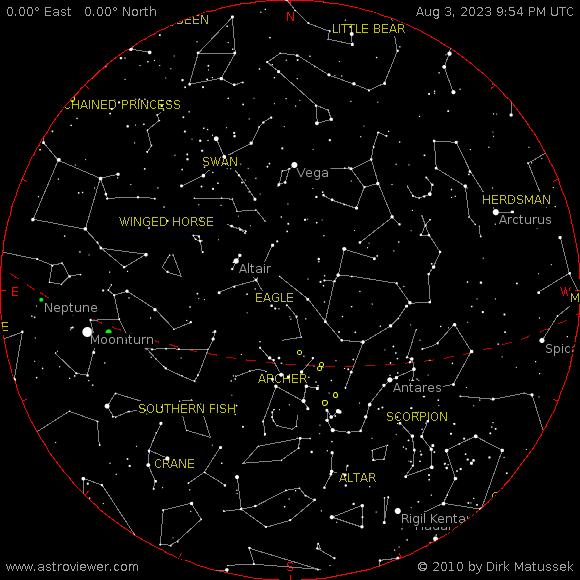 Карта на звездното небе над България