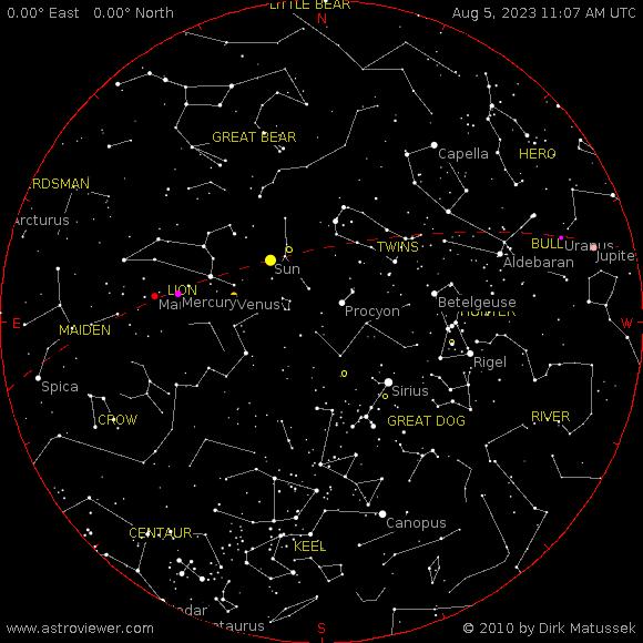 aktueller Sternenhimmel über Krakau
