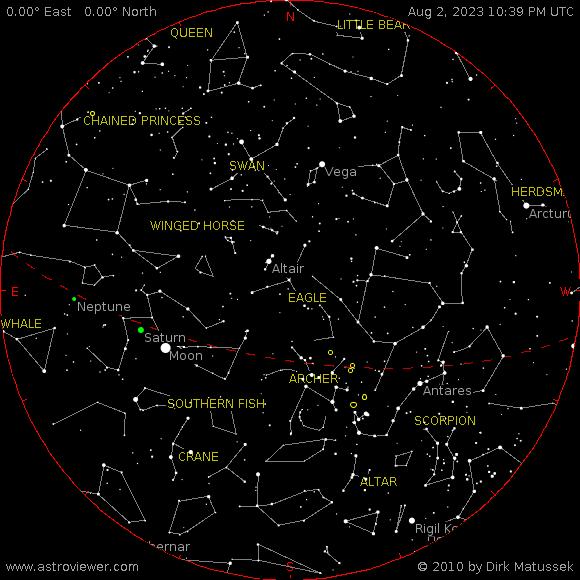 aktueller Sternenhimmel über Borchen