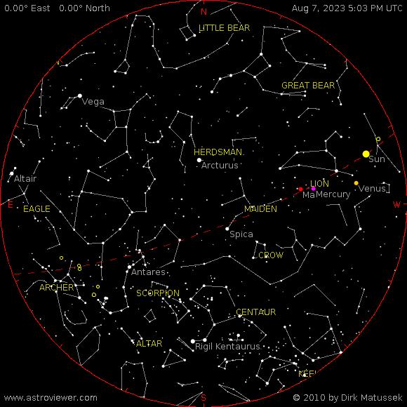 Mapa atual do céu