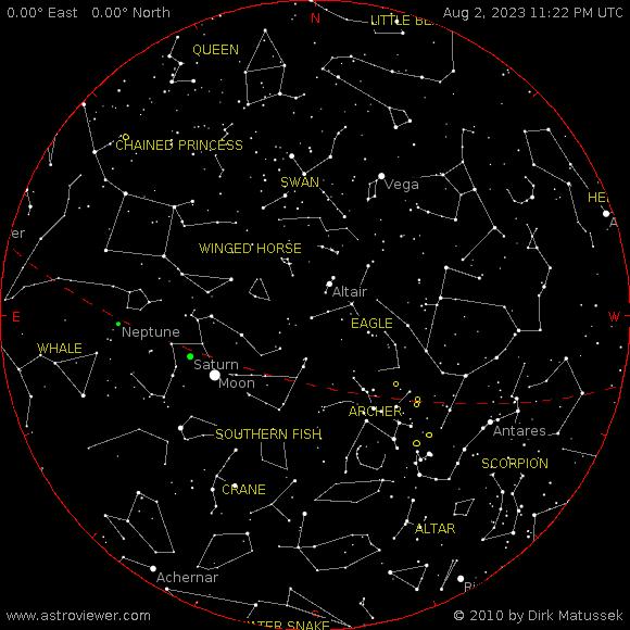 Current night sky over Hamilton