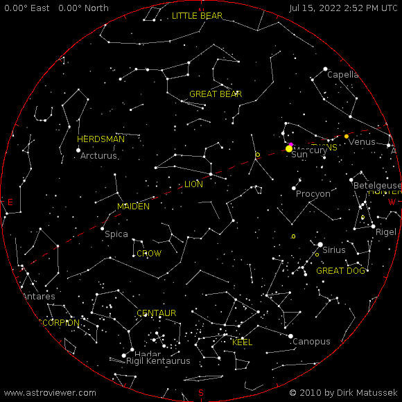 Current night sky over Parkersburg, West Virginia