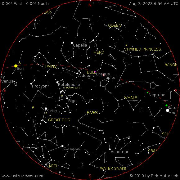 Current night sky over Eufaula, AL