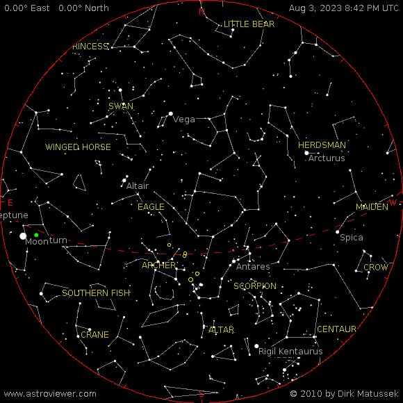 Current night sky over Opelika, AL