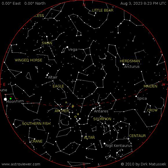 Current night sky over Altus, AR