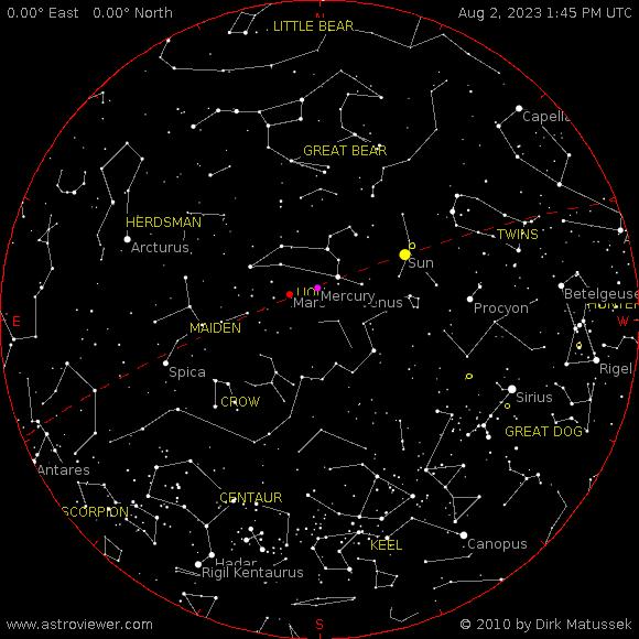 current night sky over Modena