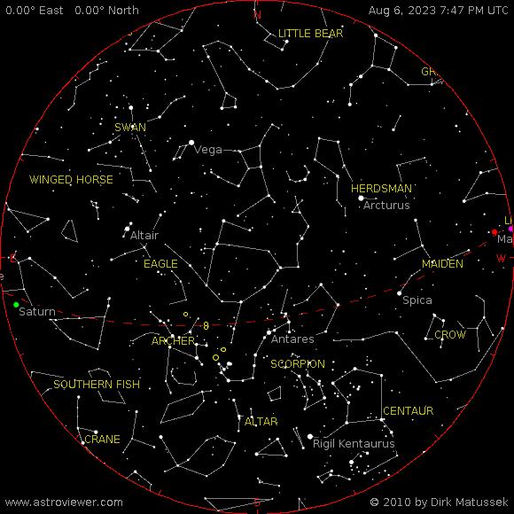 Aktuální noční obloha Těchlovice