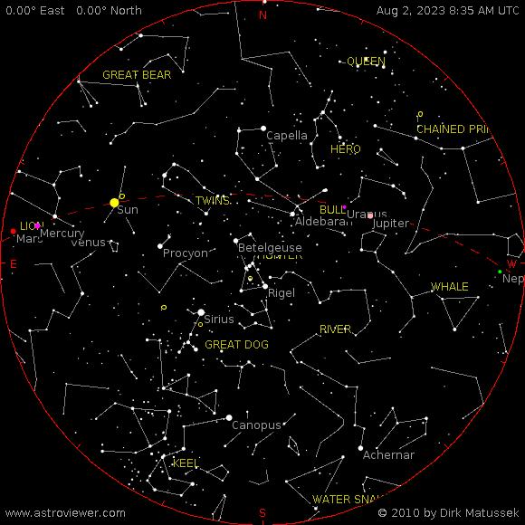 Aktualna mapa nieba dla Kalisza