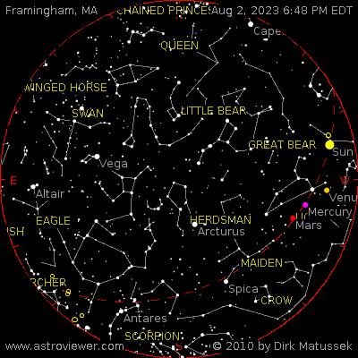 current night sky over Framingham, MA