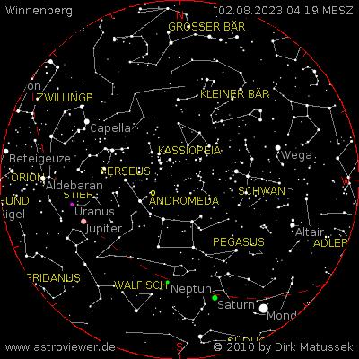 aktueller Sternenhimmel über Winnenberg