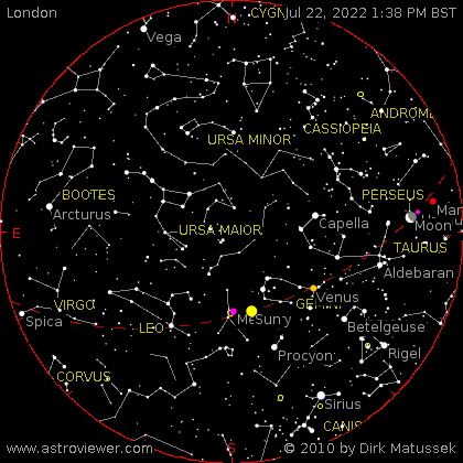 current night sky over London