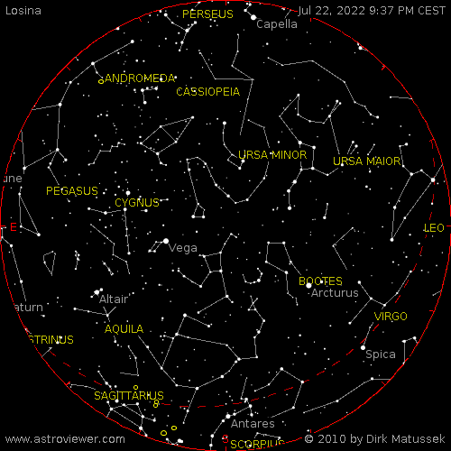 Aktuální hvězdná obloha nad Losinou