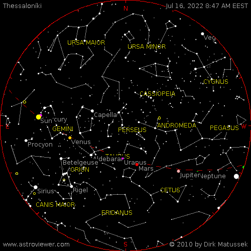 current night sky over Thessaloníki