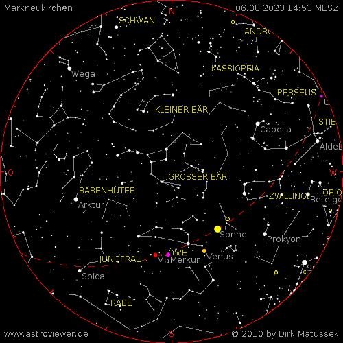 Der aktuelle Sternenhimmel über Markneukirchen