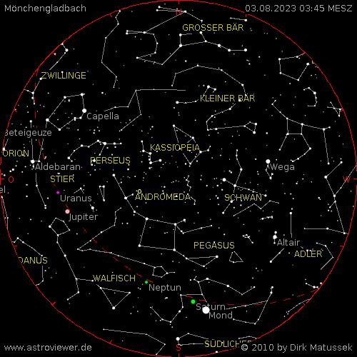 aktueller Sternenhimmel über Mönchengladbach