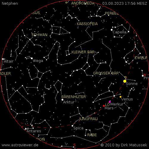aktueller Sternenhimmel über Netphen