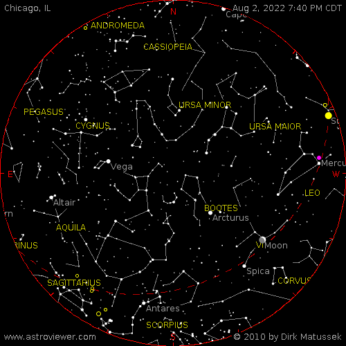 current night sky over Chicago, IL