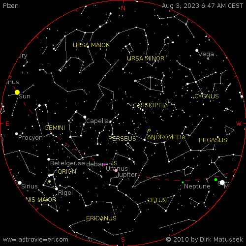 current night sky over Plzen